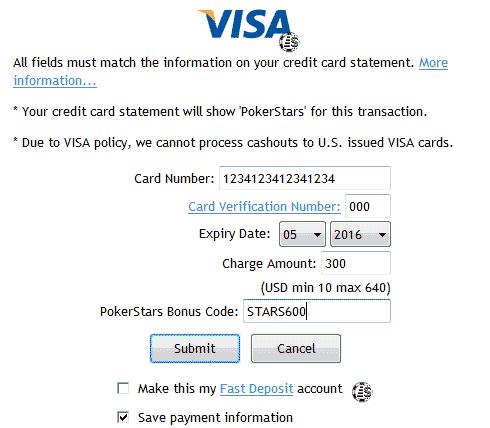 депозит на покер старс с помощью visa