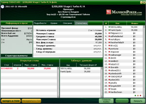 MansionPoker Tournament Lobby