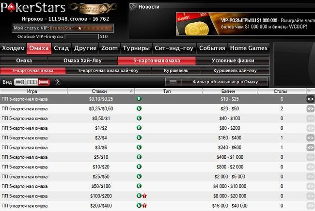 столы 5 карточной омахи на Покер Старс