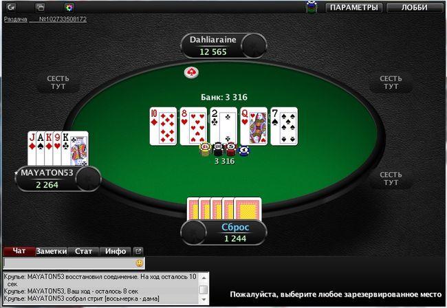 Вскрытие карт в Куршевель покер